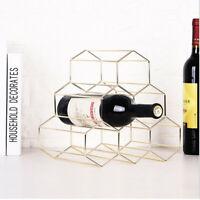 6 Bottles Wine Rack Countertop Free-stand Wine Storage Holder Space Saver US H