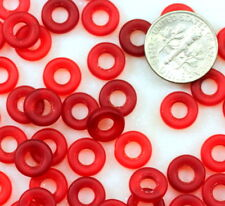 Precoisa Donut Beads, Large Hole Beads, 9mm Ruby Red w/Matte Finish, 20Pcs, 0074