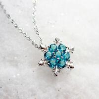 Profond Frozen Flocon de Neige Collier en Argent 925 Bleu Turquoise