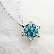 tief gefrorene Schneeflocke 925 Silber Halskette türkis blau Swarovski Element
