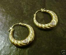 Creolen mit gelbem Topas 333er Gold 8 Karat GG + WG Herz Ohrringe Goldcreolen