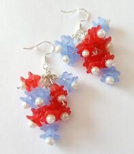 New Handmade Blue Red Bouquet Flower Acrylic White Pearl Beaded Dangle Earrings