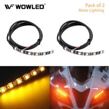 2Pcs 6 LED Universal Amber Motorcycle Strip Turn Signal Indicator Blinker Light