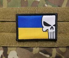 Ukraine Punisher Skull Flag Military Hook Backed Morale Tactical Hook Patch ZSU