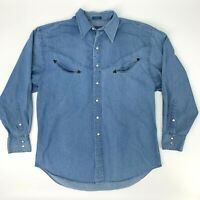 Vintage Pendleton Chambray Shirt Men's Size L Long Sleeve Snap Button Up Casual