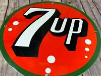 "VINTAGE 7UP SODA POP ADVERTISING 12"" METAL PORCELAIN ENAMEL GAS & OIL DRINK SIGN"