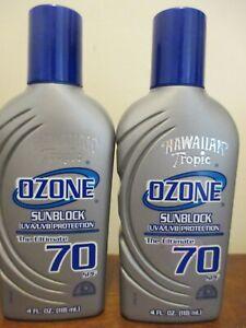(2) Hawaiian Tropic Ozone Sunblock Lotion 4 oz SPF 70