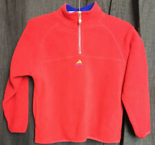 Vintage Adidas 1/4 Zip Pullover Boy's Small Fleece Jacket Embroidered Logo Red