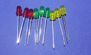 5 Volt Red, Green, and Yellow LED 5mm (no resistors needed) .....Lot of 9