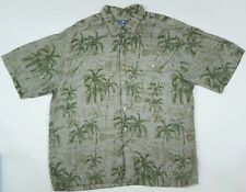 HILO Hattie HAWAIIAN Shirt XL Mens SILK Green TIKI Polynesian HAWAII Lightweight
