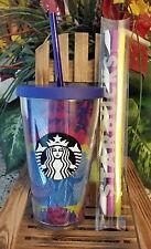 NEW Starbucks Hibiscus Cold Cup - 16 oz. Grande - 3 Pack Straws - RARE & HTF!