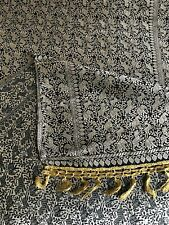 "Antique Bolt of Chinese Embroidered SIlk Fabric Panel Gold Thread on Black 96""L"