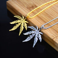 Gold Mens Hip Weed Hop Marijuana Stainless Steel Rope Chain Pendant Necklace