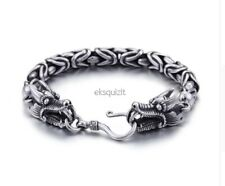 CHUNKY DOUBLE DRAGON BRACELET - MENS PUNK BIKER CHAIN BANGLE WITH GIFTBOX