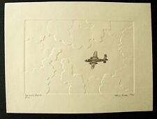 """Orig. Embossed Etching by Herb Fichter - """"The Lone Raider -- B-25"""" WW II Bomber"""