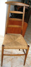 Antique Rush Seat Tall wood Ladder Back Chair French Country Farmhouse Chic