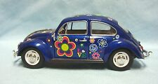1967 Diecast Blue Classical Volkswagon Beetle w/decals 1:24 Scale Kinsmart Cute!