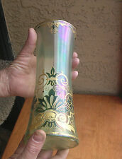 C.1896 ANTIQUE GLASS VASE HP ENAMELED FAVRILE OPALINE Fritz Heckert Era