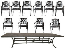 "11 piece outdoor patio dining set Nassau chairs cast aluminum 46"" x 120"" table"