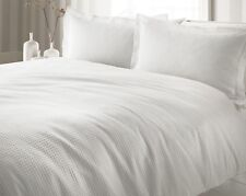 The Linen Yard Waffle 100 Cotton Duvet Cover Set White Super King