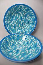 NEW Coastal Collection Set of 4 Blue Fish Melamine Salad Cereal Bowls Outdoor