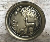 Vintage Tin Guildcraft Round Embossed Gold White Metal Candy Cookie Cake