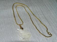 Estate Goldtone Twist Chain with Carved Mother of Pearl Owl on Branch Pendant