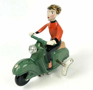 SCOOTER GIRL Wind Up Tin Toy Vespa Vintage Style