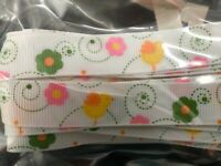 Bertie's Bows EASTER Grosgrain Ribbon - White and Yellow chicken 16 mm 3 metres