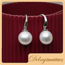 Brand New 925 Sterling Silver White Freshwater Pearl Hook Earrings