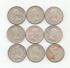 9 Canada Silver 1953-1963 10 Cents-Lot E4