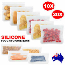 Upto40X Silicone Food Storage Bags Sealer Reusable Zip Lock Bag Pouch Fresh PEVA