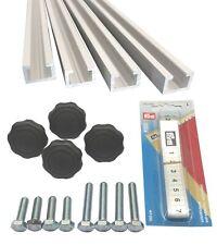 Alutec 4x1m Aluminium C-Profil mit Maßband, Sterngriffmuttern M8 und Schrauben