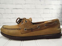 SPERRY TOP SIDER Men's Authentic Beige Leather Lace Up Boat Deck Shoes US 10M