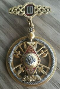 RARE Antique Uniform Rank Knights of Pythias Medal Pinback-Canna Lily Snake