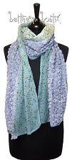 Goth : Echarpe Chale BLEU MAUVE Violet Fleurs Roses Dentelle Crochet Gothique