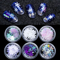 6Boxes Nail Art Sequins Christmas Snowflake Holographic Glitter  3D Decorations