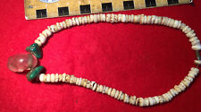 Aztec Pre-Columbian Mexico Crystal Skull, Turquoise, Shell Necklace