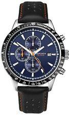Sekonda Mens Leather Strap Blue Dial Chronograph Watch Model 1377