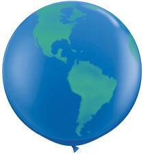 "3' HUGE 36"" Blue & Green Earth Globe Qualatex Latex Balloon Party Decoration Day"