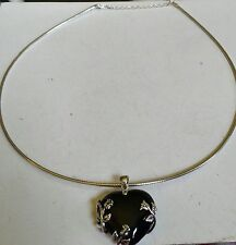 Sterling  Necklace & Black Onyx Heart Pendant