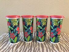 Tupperware 16oz Tumblers Set Of 4 Tropical Print w/ Pink Seal New