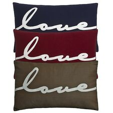 Kirstie Allsopp TAUPE & White Feather Filled LOVE Cushion Large Oblong 30x50 cm