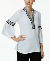 Charter Club Women's Bell Sleeve Bright White Top NWD-9003446 Size L