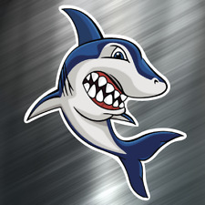 (1) ONE Shark Cartoon Decal Sticker Car Boat Fishing Dive Beach Ocean Boating