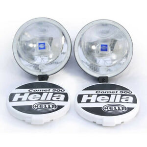 Hella Comet 500 Spot Lamp / Light Set 2 Lamps Covers And Fitting Kit PAIR