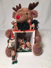 Artist Carol Webb Christmas Bear Elf ROOM BOX Diorama Dollhouse MINIATURES Light