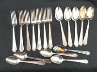 27pc 1847 ROGERS BROS ANCESTRAL SILVERPLATE FLATWARE spoons forks knives butter