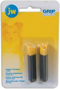 JW Pet Gripsoft Nail Styptic Powder Stick 2 Pack Stops Minor Bleeding Care Blood