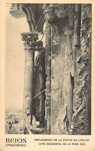 Reims Cathedral War Damage postcard RP Antony Thouret  Un-Posted 1918 A03